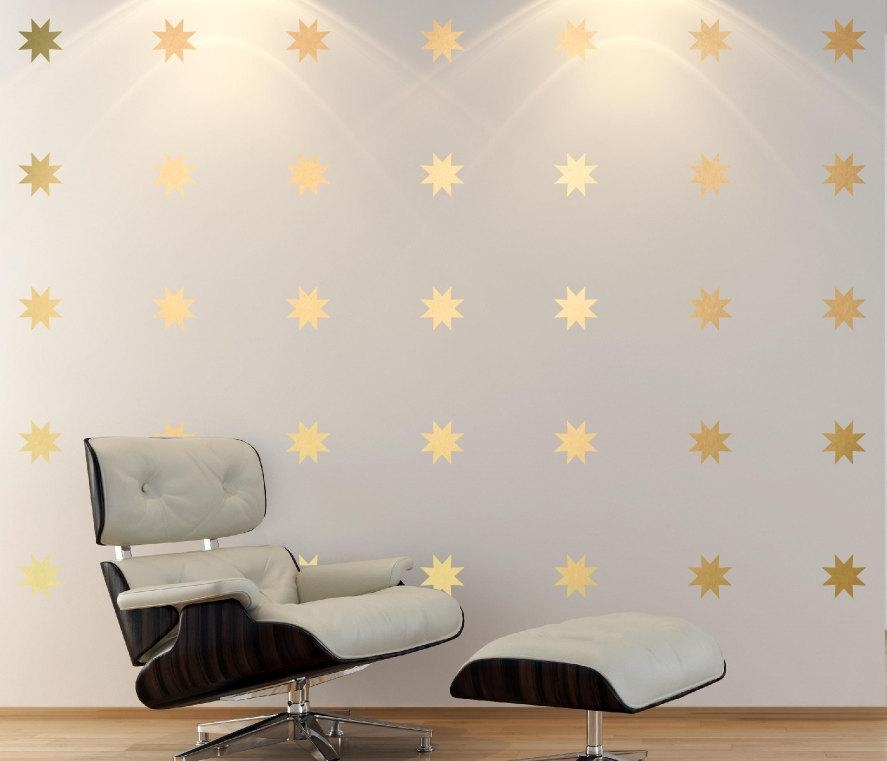 Gold Star Decal Set 8 Point Star Wall Decals Baby Nursery Wall Intended For Gold Wall Art Stickers (Image 11 of 20)