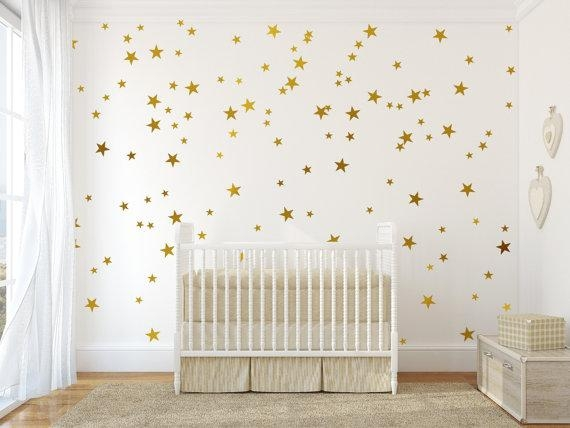 Gold Vinyl Wall Decal Sticker Wall Art Stars Gold Star Decal Intended For Gold Wall Art Stickers (Image 12 of 20)