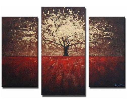 Golden Foliage Tree Piece Canvas Wall Art Sets – Ffree Shipping Pertaining To Three Piece Canvas Wall Art (View 5 of 20)