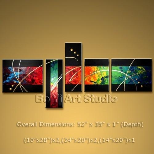 Gorgeous Colorful Abstract Modern Oil Painting Canvas Wall Art Pertaining To Colorful Abstract Wall Art (Image 14 of 20)