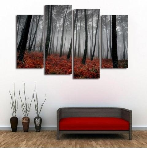 Gray 30*60Cm*2Pcs/30*80Cm*2Pcs Fog Forest Wall Art Split Canvas Pertaining To Split Wall Art (Image 8 of 20)
