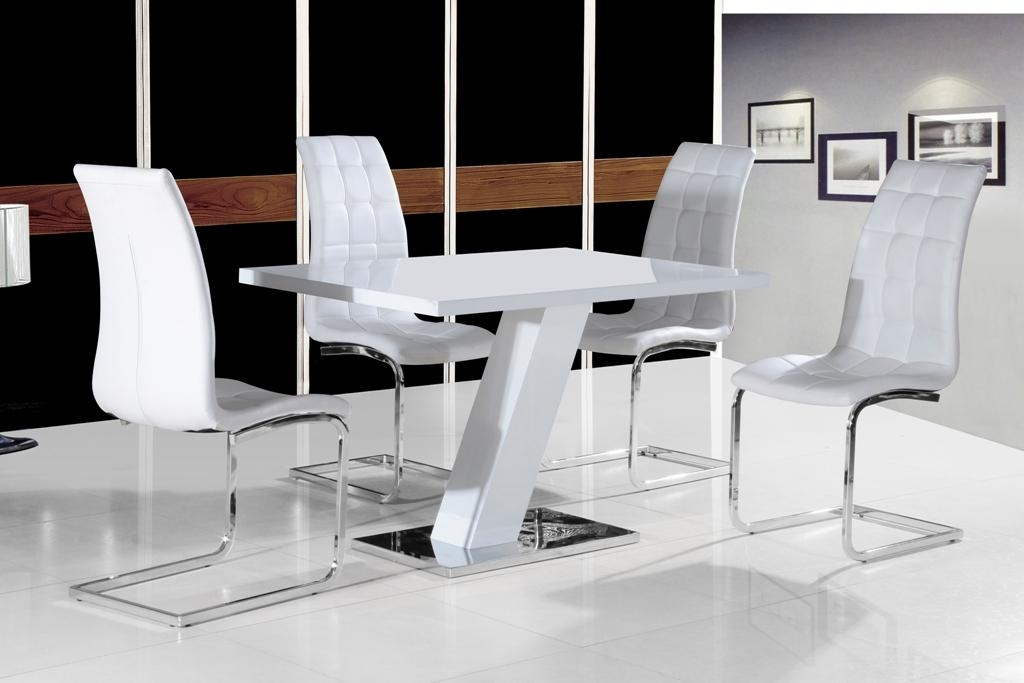 Grazia White High Gloss Contemporary Designer 120 Cm Compact Inside Latest Black Gloss Dining Sets (Image 13 of 20)