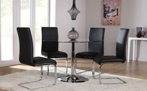 Great Chairs For Glass Dining Table With Round Glass Dining Table Inside Most Recent Glass And Chrome Dining Tables And Chairs (View 12 of 20)