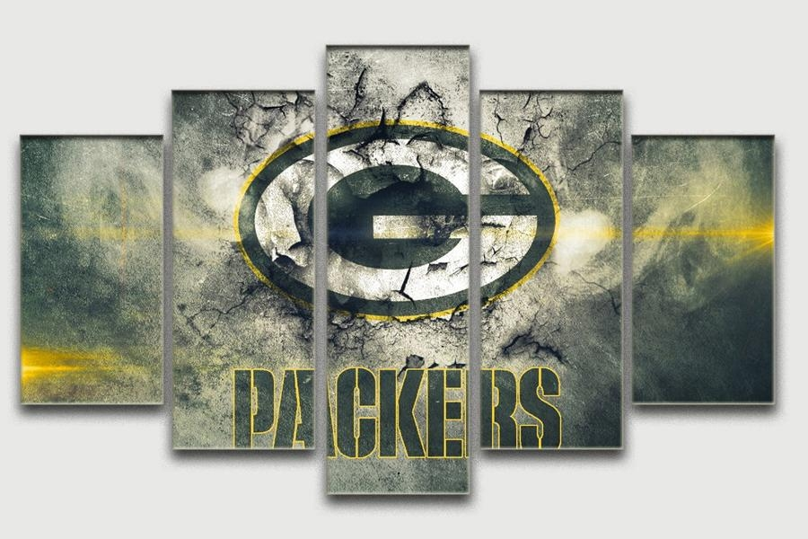 Green Bay Packers Oil Painting Unframed Famous Home Wall Art Within Green Bay Packers Wall Art (Image 11 of 20)