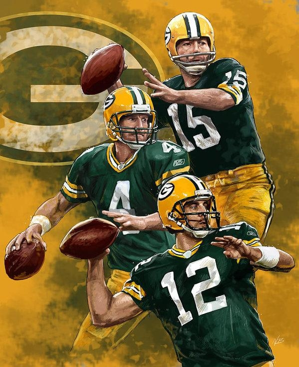 Green Bay Packers Quarterbacks Posternate Baranowski With Green Bay Packers Wall Art (Image 14 of 20)