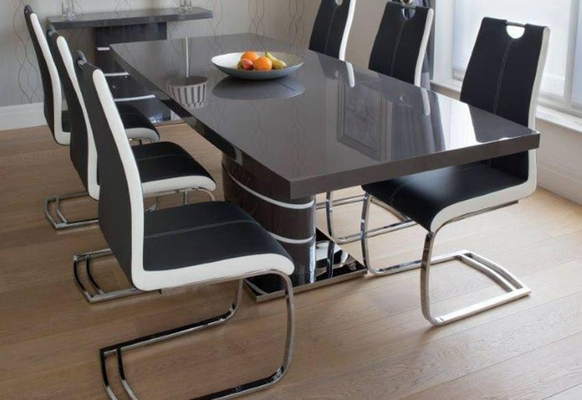 Greenapple Furniture – Rimini Lacquered Gloss Grey Or White Dining In Grey Gloss Dining Tables (Image 9 of 20)