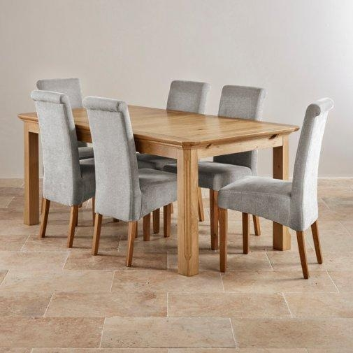 Grey Fabric Dining Room Chairs Gorgeous Decor Grey Fabric Dining Throughout 2018 Oak Dining Tables And Fabric Chairs (Image 12 of 20)