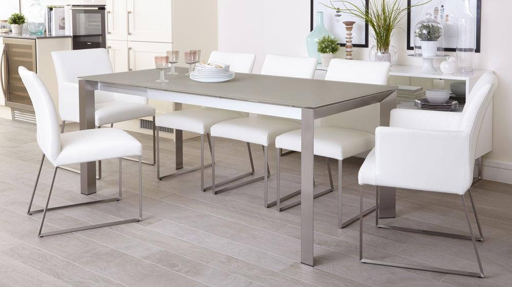 Grey Frosted Glass Dining Table | Extending Dining Table Uk For Latest Grey Dining Tables (Image 13 of 20)