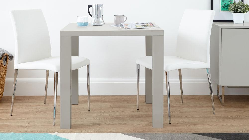 Grey Gloss 2 Seater Dining Set | Faux Leather Dining Chair Throughout Grey Gloss Dining Tables (Image 10 of 20)