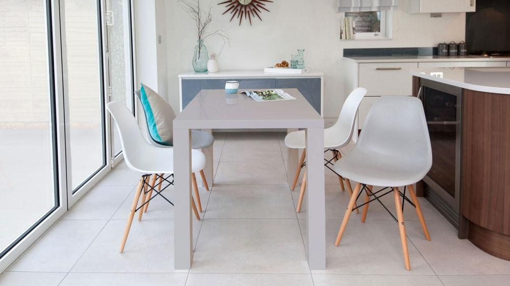 Grey Gloss 4 Seater And Eames Style Dining Set Regarding Grey Gloss Dining Tables (Image 11 of 20)