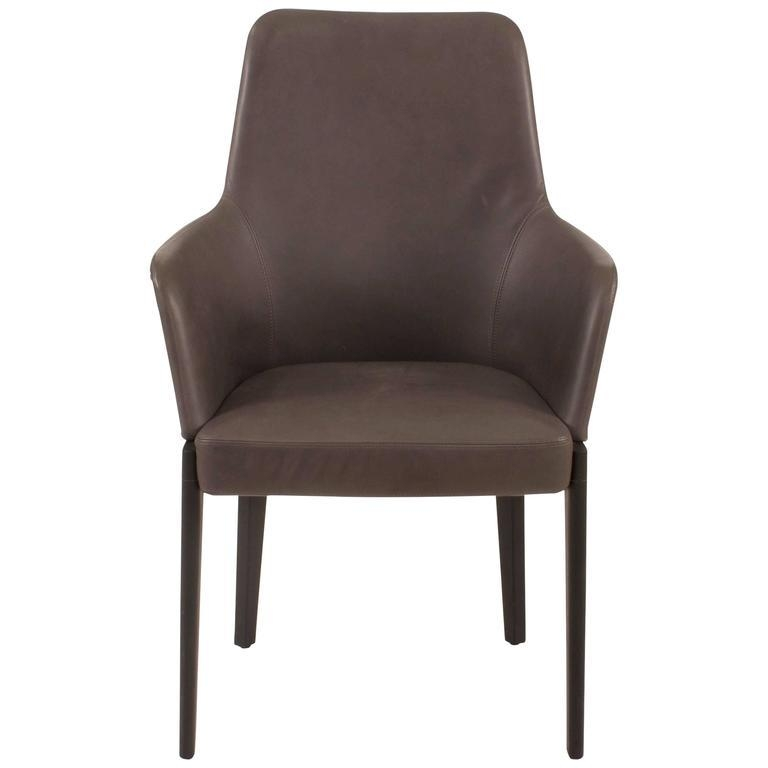 Grey Leather Chelsea High Back Dining Chairron Gilad For Regarding High Back Leather Dining Chairs (Image 9 of 20)