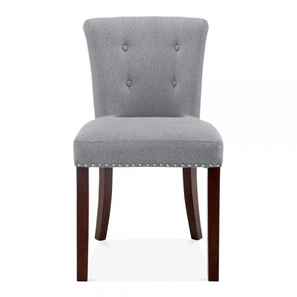Grey Wool Upholstered Balmoral Dining Chair | Modern Dining Chairs With Regard To Most Recently Released Button Back Dining Chairs (Image 12 of 20)