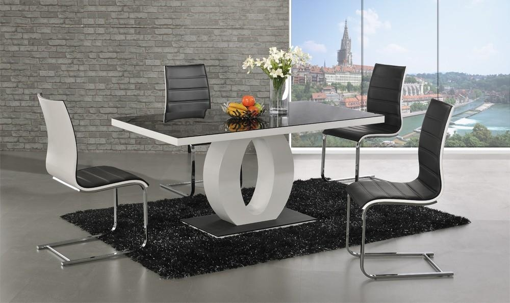 Halo Black Glass White High Gloss Dining Table With Regard To Most Up To Date Black Gloss Dining Room Furniture (Image 14 of 20)