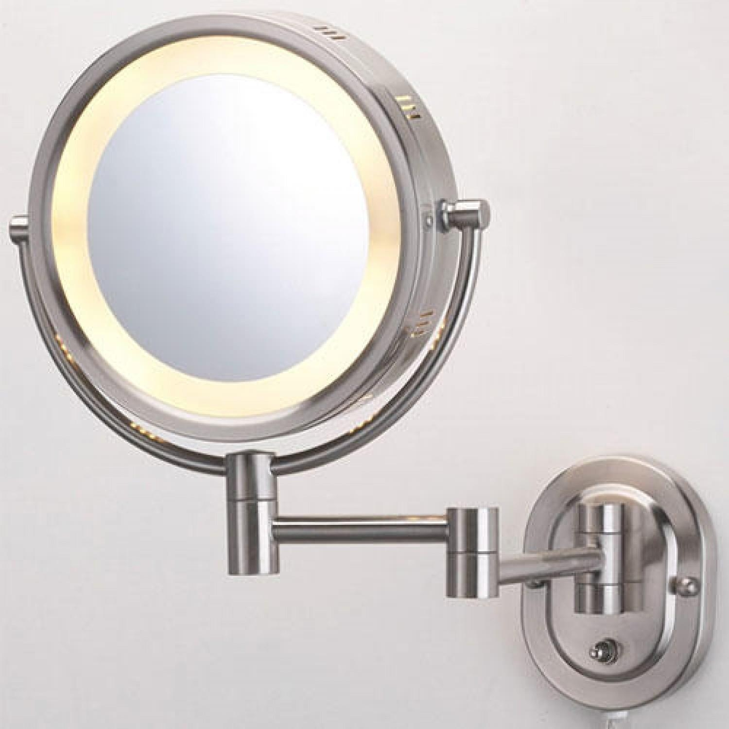 Halo Swinging Lighted Vanity Mirror – Bathroom Throughout Magnified Vanity Mirrors (Image 8 of 20)