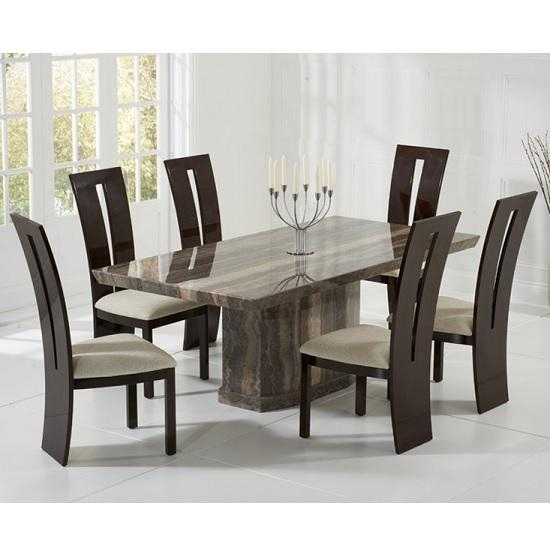Hamlet Marble Dining Table In Brown And 6 Ophelia Cream Within Current Marble Dining Chairs (Image 8 of 20)