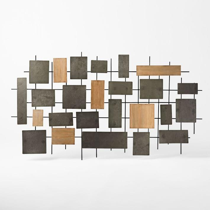Hammered Metal + Wood Wall Art | West Elm In Wood And Iron Wall Art (Image 9 of 20)