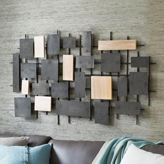 Hammered Metal + Wood Wall Art | West Elm With Hammered Metal Wall Art (Image 11 of 20)