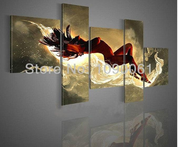 Hand Painted Large Modern Wall Art Canvas Nude 5 Panels Abstract Pertaining To Large Modern Wall Art (Image 9 of 20)