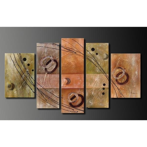 Hand Painted Oil On Canvas Wall Decoration 5 Piece Art Set – Free Within Five Piece Wall Art (Image 10 of 20)