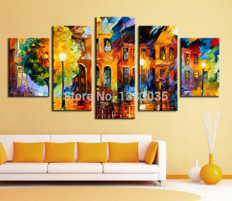 Hand Painted Paris Street Scene Oil Painting Modern Abstract 3 Within Five Piece Wall Art (Image 9 of 20)