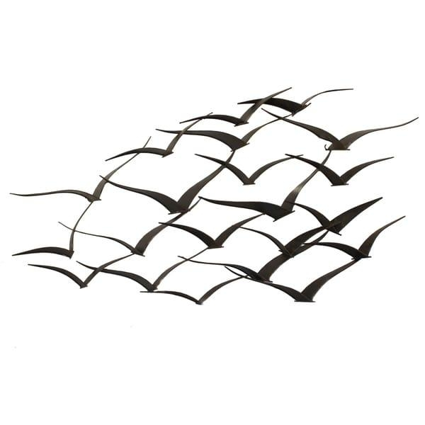 Handcrafted Flock Of Metal Flying Birds Wall Art – Free Shipping With Metal Wall Art Birds In Flight (Image 9 of 20)