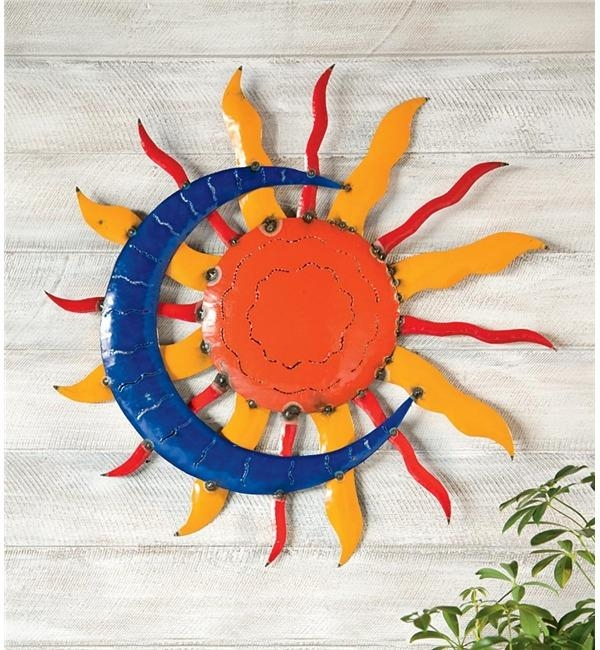 Handcrafted Sun And Moon Metal Wall Art | Metal Garden Wall Art Regarding Sun And Moon Metal Wall Art (View 8 of 20)