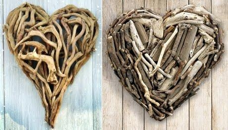 Handmade Heart Art With Driftwood, Shells, Rocks And Seaglass Inside Driftwood Heart Wall Art (Image 11 of 20)