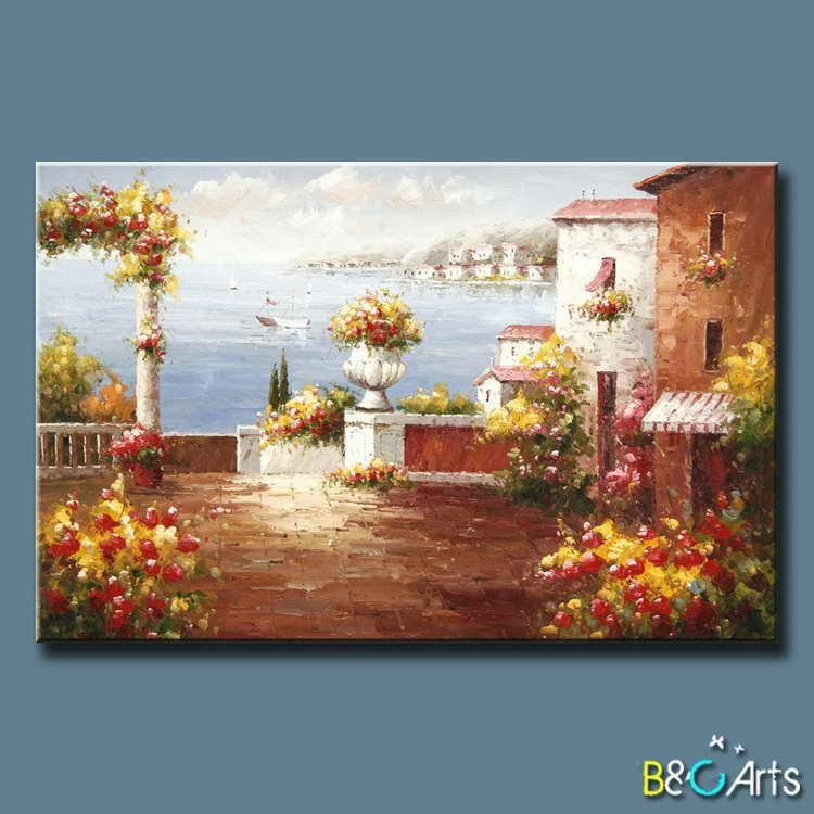 Handpainted Modern Tuscany Canvas Wall Art Garden Beautiful With Regard To Italian Coast Wall Art (View 2 of 20)