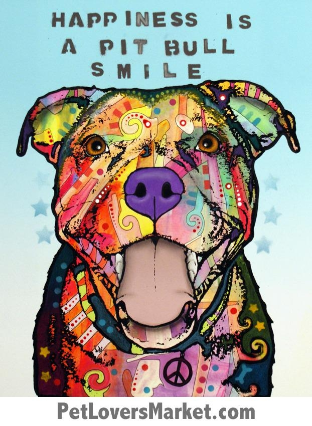 Happiness Is A Pitbull Smile – Dean Russo Dog Art Inside Pitbull Wall Art (Image 10 of 20)