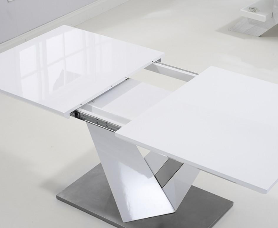 Harmony 160Cm White High Gloss Extending Dining Table With Malaga Regarding Current High Gloss Extendable Dining Tables (View 16 of 20)