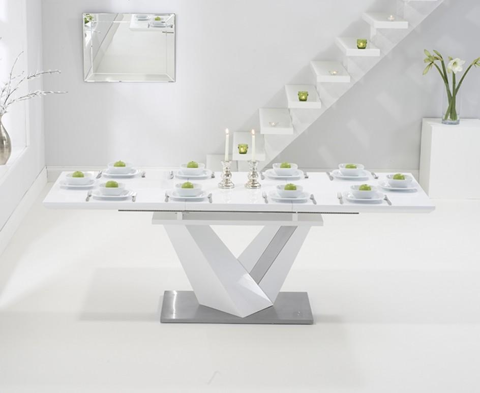 Superbe Harmony 160Cm White High Gloss Extending Dining Table With Malaga  Throughout Current High Gloss Extendable Dining