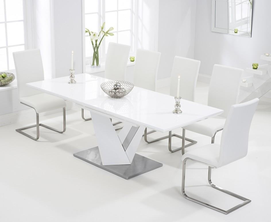 Harmony 160Cm White High Gloss Extending Dining Table With Malaga With Regard To Most Recent High Gloss White Extending Dining Tables (Image 12 of 20)
