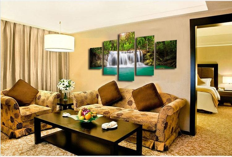 Hd 5 Pieces Modular Moving Waterfall Large Home Decorative Picture In Moving Waterfall Wall Art (Image 6 of 20)