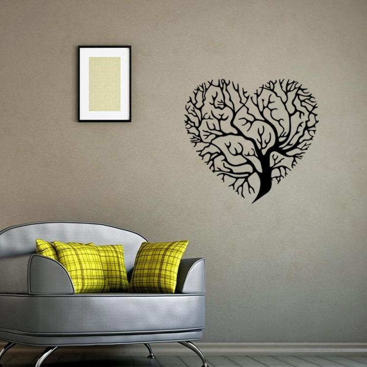 Heart Shaped Tree Wall Art Mural Decor Sticker Living Room Bedroom Inside Graphic Design Wall Art (Image 13 of 20)