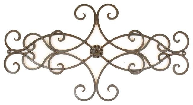 Hearts Scroll Iron Door Topper – Rustic – Outdoor Wall Art – Intended For Iron Scroll Wall Art (Image 8 of 20)