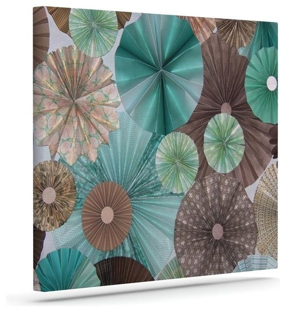 "Heidi Jennings ""atlantis"" Teal Brown Wrapped Art Canvas Within Teal And Brown Wall Art (Image 9 of 20)"