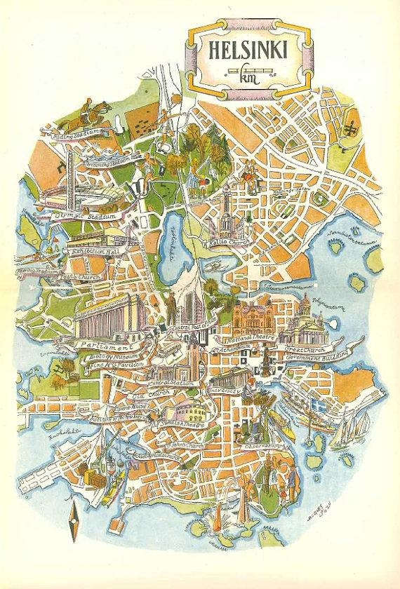 Helsinki Map Art / Helsinki Finland Map Wall Art / Jacques Inside Vintage Map Wall Art (View 19 of 20)