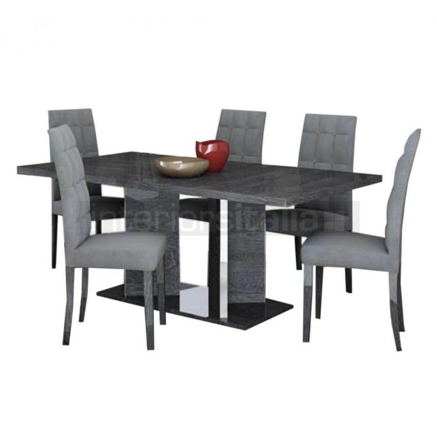 High Gloss Dining Set | Extending | Sarah Grey Birch | Sale Pertaining To Grey Gloss Dining Tables (Image 17 of 20)
