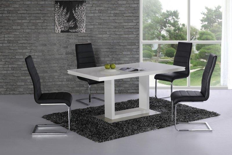 High Gloss Dining Table And 4 Chairs White With Black  Homegenies Within White High Gloss Dining Tables And 4 Chairs (Image 12 of 20)