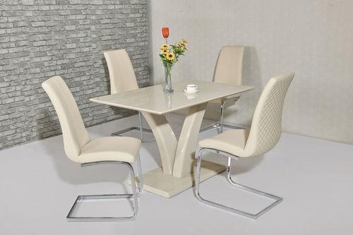 High Gloss Dining Table & Chairs, Gloss Dining Sets – Homegenies With Recent Cream Gloss Dining Tables And Chairs (Image 13 of 20)