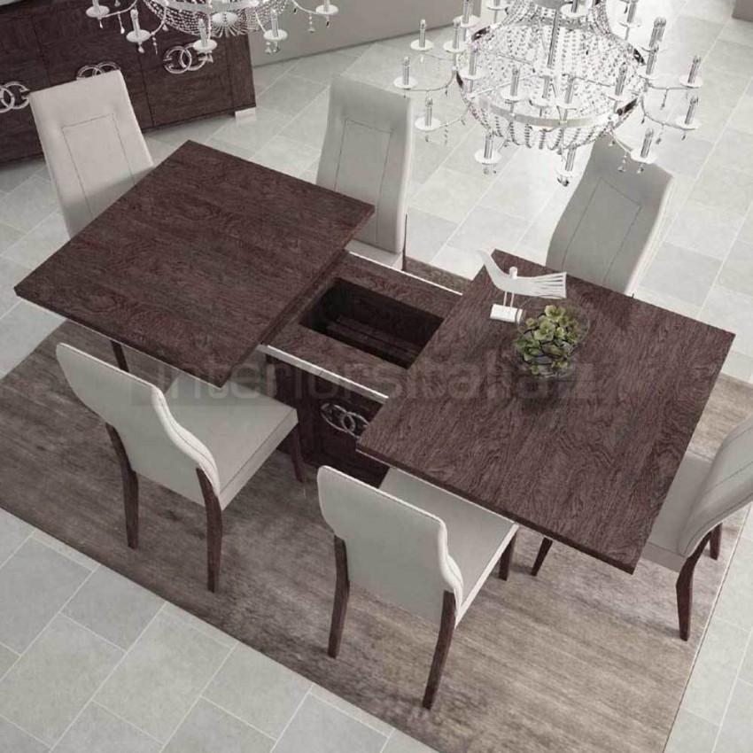 High Gloss Dining Table | Extending | Prestige Umber Birch | Sale Within Extending Marble Dining Tables (Image 12 of 20)