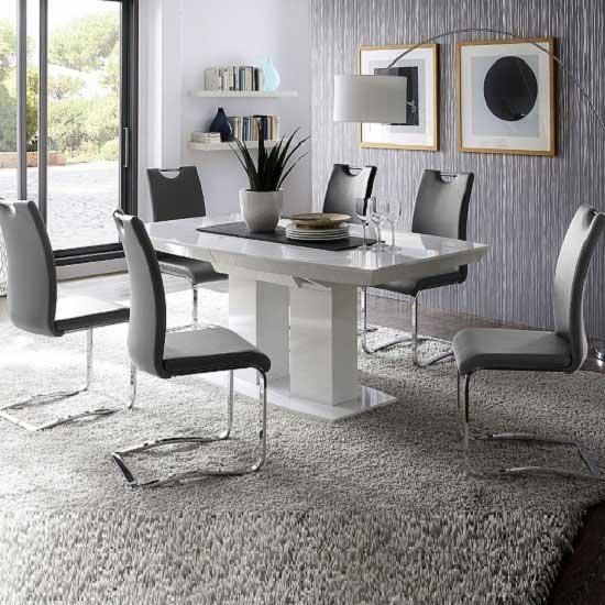 High Gloss Dining Table With 6 Grey Koln Chairs Intended For Grey Gloss Dining Tables (Image 18 of 20)