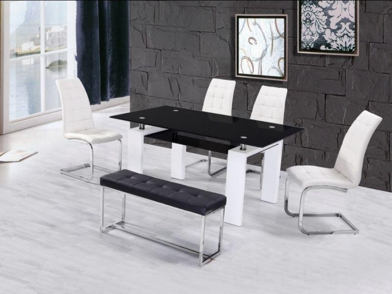 High Gloss Glass Dining Table With 4 Chairs & Bench – Homegenies 2017 For White High Gloss Dining Tables And 4 Chairs (Image 13 of 20)