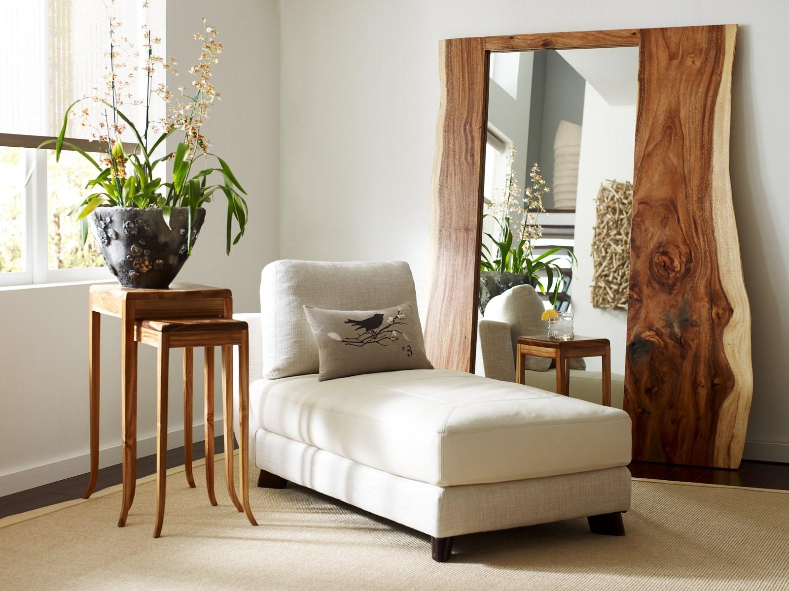 High Stand Mirror With Natural Brown Wooden Frame Placed On The Throughout Natural Wood Framed Mirrors (Image 9 of 20)