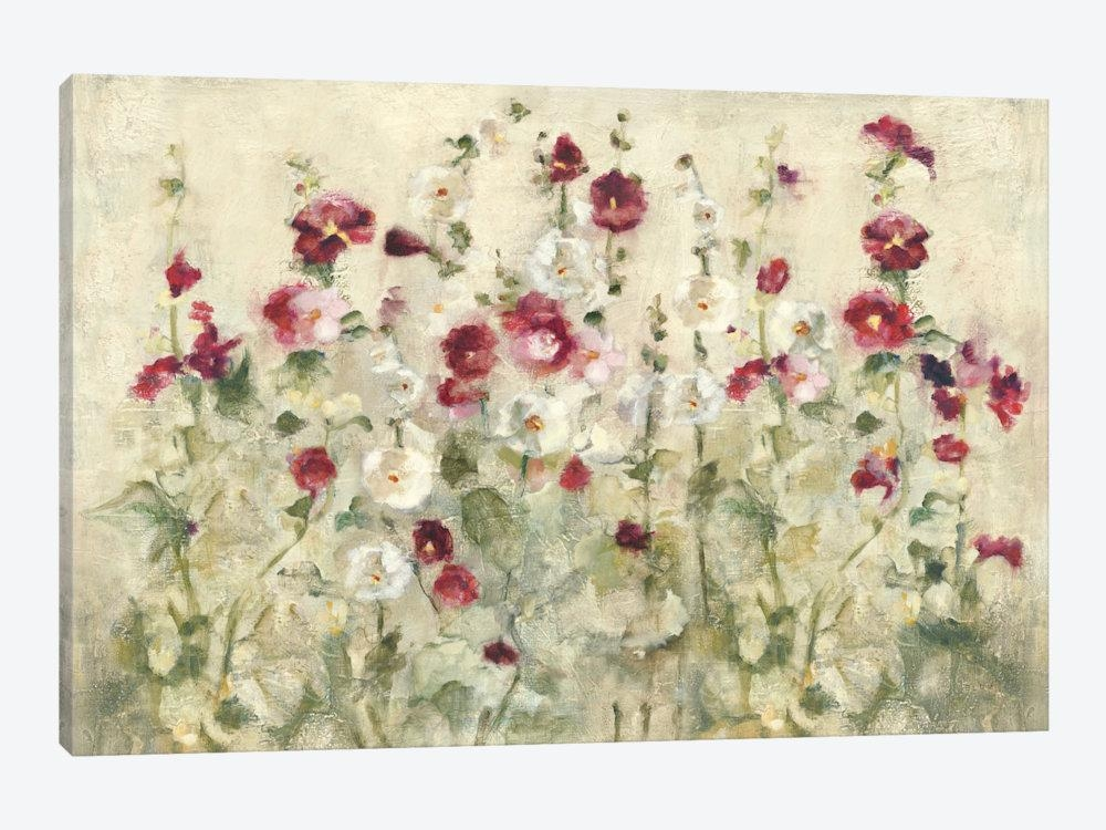 Hollyhocks Row Cool Canvas Artcheri Blum | Icanvas With Regard To 3 Piece Floral Wall Art (View 13 of 20)