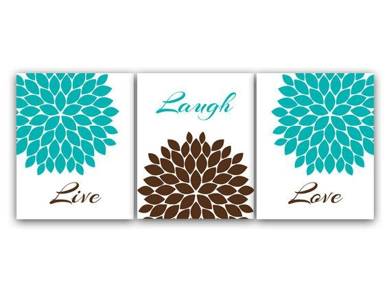 Home Decor Canvas Or Prints Live Laugh Love Turquoise Wall Within Brown And Turquoise Wall Art (View 1 of 20)
