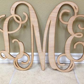 Home Decor, Large Wooden Monogram, Wall From Customcutmonograms In Monogrammed Wall Art (Image 9 of 20)