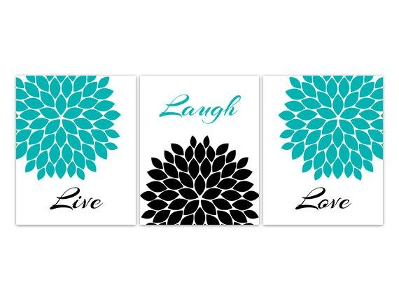 Home Decor Wall Art Live Laugh Love Canvas Turquoise Wall Inside Teal And Black Wall Art (Image 14 of 20)