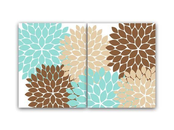 Home Decor Wall Art, Teal And Brown Flower Burst Art, Bathroom With Brown And Turquoise Wall Art (View 3 of 20)