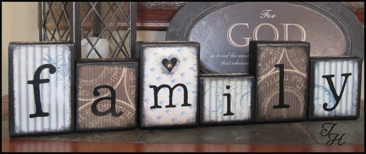 Home Decor Wood Word Art Family Distressed Blocksdesignsbyth Pertaining To Wooden Word Art For Walls (Image 16 of 20)